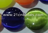 CCT581 15 inches 14mm flat round cats eye beads wholesale