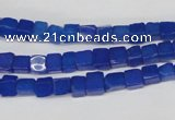 CCU18 15.5 inches 4*4mm cube dyed white jade beads wholesale