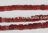 CCU21 15.5 inches 5*5mm cube red jasper beads wholesale