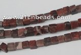 CCU25 15.5 inches 5*5mm cube red picture jasper beads wholesale