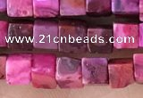 CCU455 15.5 inches 4*4mm cube fuchsia crazy lace agate beads
