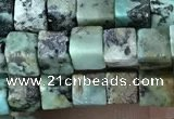 CCU461 15.5 inches 4*4mm cube African turquoise beads wholesale