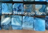 CCU483 15.5 inches 6*6mm cube blue crazy lace agate beads