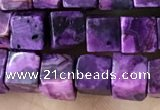 CCU484 15.5 inches 6*6mm cube purple crazy lace agate beads