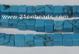 CCU50 15.5 inches 6*6mm cube turquoise beads wholesale