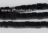 CCU53 15.5 inches 6*6mm cube black agate beads wholesale