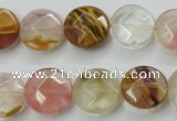 CCY411 15.5 inches 14mm faceted coin volcano cherry quartz beads