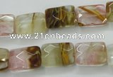 CCY430 15.5 inches 10*14mm faceted rectangle volcano cherry quartz beads