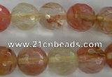 CCY505 15.5 inches 14mm faceted round volcano cherry quartz beads