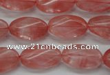 CCY70 15.5 inches 12*20mm twisted oval cherry quartz beads wholesale
