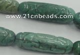 CDB12 12*40mm carved cylinder natural new dragon blood jasper beads