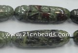 CDB204 12*40mm carved cylinder natural dragon blood jasper beads