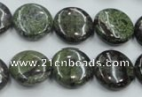 CDB208 15.5 inches 16mm flat round natural dragon blood jasper beads