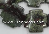 CDB225 15.5 inches 25*25mm cross natural dragon blood jasper beads