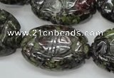 CDB248 15.5 inches 22*30mm carved oval natural dragon blood jasper beads