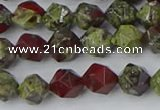 CDB336 15.5 inches 6mm faceted nuggets dragon blood jasper beads