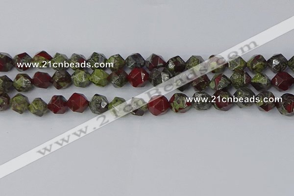 CDB338 15.5 inches 10mm faceted nuggets dragon blood jasper beads