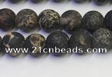 CDE1045 15.5 inches 4mm round matte sea sediment jasper beads