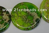 CDE128 15.5 inches 44mm flat round dyed sea sediment jasper beads
