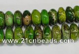 CDE135 15.5 inches 6*12mm rondelle dyed sea sediment jasper beads