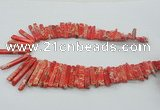 CDE1509 Top drilled 5*15mm - 6*55mm sticks sea sediment jasper beads