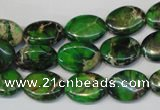 CDE180 15.5 inches 10*14mm oval dyed sea sediment jasper beads