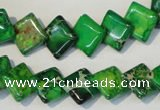 CDE204 15.5 inches 10*10mm diamond dyed sea sediment jasper beads