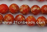 CDE2101 15.5 inches 8mm faceted round dyed sea sediment jasper beads