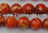 CDE2103 15.5 inches 12mm faceted round dyed sea sediment jasper beads