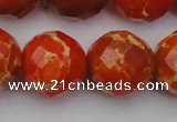 CDE2109 15.5 inches 24mm faceted round dyed sea sediment jasper beads