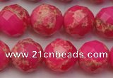 CDE2115 15.5 inches 16mm faceted round dyed sea sediment jasper beads