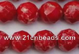 CDE2126 15.5 inches 18mm faceted round dyed sea sediment jasper beads