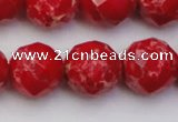 CDE2127 15.5 inches 20mm faceted round dyed sea sediment jasper beads