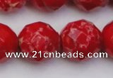 CDE2129 15.5 inches 24mm faceted round dyed sea sediment jasper beads
