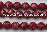 CDE2130 15.5 inches 6mm faceted round dyed sea sediment jasper beads