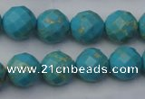 CDE2154 15.5 inches 14mm faceted round dyed sea sediment jasper beads