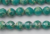 CDE2170 15.5 inches 6mm faceted round dyed sea sediment jasper beads