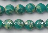 CDE2173 15.5 inches 12mm faceted round dyed sea sediment jasper beads