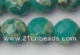 CDE2178 15.5 inches 22mm faceted round dyed sea sediment jasper beads