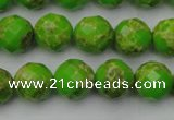 CDE2183 15.5 inches 12mm faceted round dyed sea sediment jasper beads