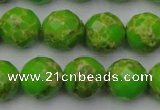 CDE2186 15.5 inches 18mm faceted round dyed sea sediment jasper beads