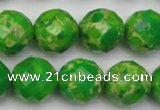 CDE2195 15.5 inches 16mm faceted round dyed sea sediment jasper beads