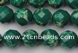 CDE2202 15.5 inches 10mm faceted round dyed sea sediment jasper beads