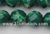 CDE2207 15.5 inches 20mm faceted round dyed sea sediment jasper beads
