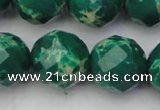 CDE2208 15.5 inches 22mm faceted round dyed sea sediment jasper beads