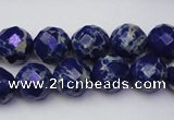 CDE2213 15.5 inches 12mm faceted round dyed sea sediment jasper beads