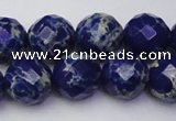 CDE2216 15.5 inches 18mm faceted round dyed sea sediment jasper beads