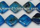 CDE248 15.5 inches 16*16mm diamond dyed sea sediment jasper beads