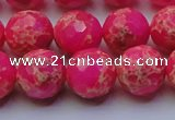 CDE2507 15.5 inches 14mm faceted round dyed sea sediment jasper beads