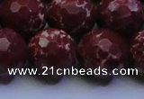 CDE2531 15.5 inches 20mm faceted round dyed sea sediment jasper beads
